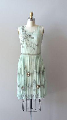silk 1920s dress / vintage 20s dress / Menthe Douce dress