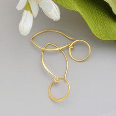 Gold Hoop Earrings Gold Dangles 24K  Gold Earrings by signestyle