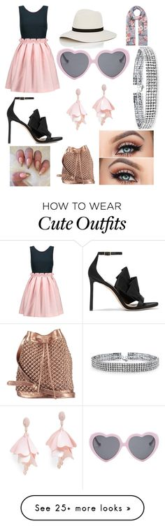 """""""Girly and Cute Outfit"""" by oliviaballard04 on Polyvore featuring Mother of Pearl, Jimmy Choo, Janessa Leone, Vans, Oscar de la Renta Pink Label, nooki design, Bling Jewelry and Accessorize"""