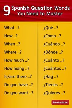 9 Spanish question words you need to master. 9 Spanish question words you need to master. Spanish Help, Spanish Notes, Spanish Lessons For Kids, Learn To Speak Spanish, Spanish Basics, Spanish English, Spanish Art, Spanish Lesson Plans, French Lessons