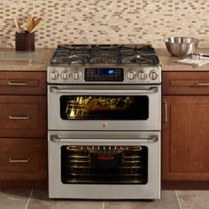 double oven gas range with convection oven