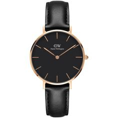 Daniel Wellington Women's Petite Leather Strap Watch ($165) ❤ liked on Polyvore featuring jewelry, watches, black, pin jewelry, slim watches, stitch jewelry, polish jewelry and water resistant watches