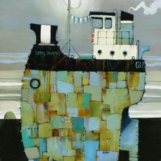 Scottish art gallery for modern Scottish paintings and contemporary Scottish art by leading contemporary Scottish artist - Red Rag Scottish Art Gallery. Art Painting, Water Art, Boat Painting Abstract, Painting, Wilson Art, Whimsical Art, Boat Art, Contemporary Folk Art, Scottish Art