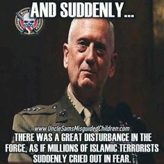 Truth is, they are probably praising Allah that Trump and his pack of idiots are all they have to worry about now. Military Quotes, Military Humor, Military Life, Usmc Quotes, General James Mattis, God Bless America, American Soldiers, Marine Corps, We The People