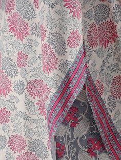Pink-White Block-printed Cotton Kurta with Asymmetrical Hem