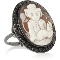 Amedeo Oxidized-silver, sardonyx shell and diamond monkey cameo ring ($3,070) via Polyvore