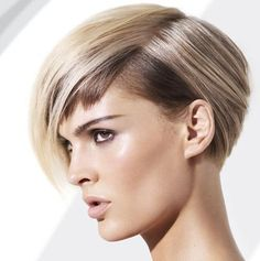 Straight Blonde Hair In Funky Chic Short Wedge Hairstyle