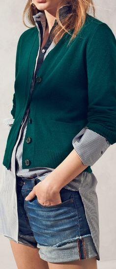 short shorts, short cardy, long shirt :)
