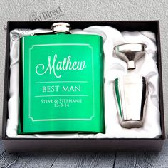 Green Hip Flask Gift Set Engraved Stainless Wedding Groomsman Best man present From Personalised Hip Flask, Presents For Men, Flasks, Shot Glasses, Groomsman Gifts, Custom Engraving, Special Guest, Green Wedding, Thoughtful Gifts