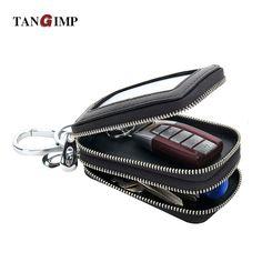 TANGIMP Knitting Men Car Key Wallet Holder Genuine Leather Man Organizer Multifunctional New Double Zipper Motor Key Case