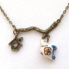 Antiqued Brass Branch Cage Porcelain Bird Necklace