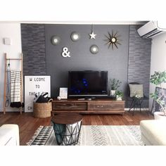 Everyone dreams have their own home entertainment center, this is the largest and most important furniture are usually located in the living room or family room Diy Interior, Room Interior, Interior Decorating, Interior Design, Interior Modern, Home Entertainment Centers, Cozy Living, Grey Walls, Inspired Homes