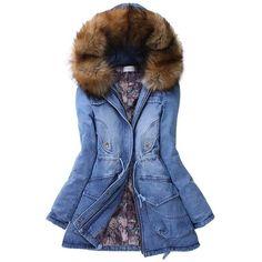 Women's Winter Fur Hooded Zip Placket Cotton Coat Denim Coat ($58) ❤ liked on Polyvore featuring outerwear, coats, jackets, denim coats, cotton coat, blue coat and fur hood coat