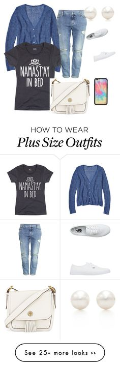"""""""Plus size outfit // comfy"""" by olivia-dawn-taylor on Polyvore featuring H&M, Vans, Wildflower, Tory Burch and Tiffany & Co."""
