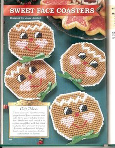 Sweet face gingerbread men coasters christmas plastic canvas pattern only