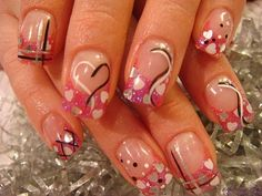 nail art desain simple love