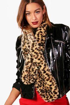 BOO HOO Leopard print fur scarf #affiliate