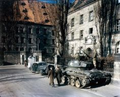 A US tank in front of the Palace of Justice in Nuremberg, during proceedings against leading Nazi figures for war crimes at the International Military Tribunal (IMT), Germany, 1945. (Photo by Raymond D'Addario/Galerie Bilderwelt/Getty Images)