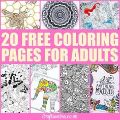 20 FREE COLORING PAGES FOR ADULTS-posted by Kate ...No theme this time, unless you count gorgeousness as a theme (which I think maybe I do?!) these are just colouring designs which I thought looked like fun and which I thought you might like too!