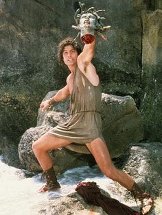 Perseus emerges from the sea, with Medusa's head intact to destroy the Kraken and save the city of Joppa (and its princess) in Clash of the Titans (1981).