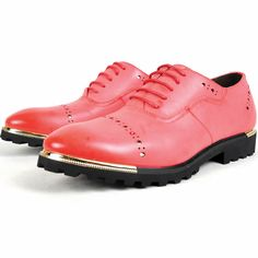 Men Red Leather Lace Up Fashion Wedding Prom Dress Brogue Shoes SKU-1100538