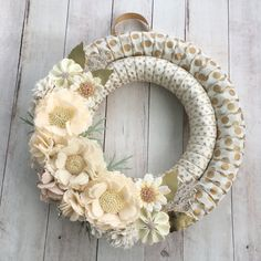 Ivory cream and gold felt flower polka dot by wiltedrosewreaths