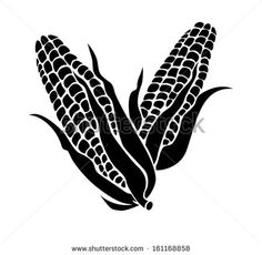 Silhouette of a corn - stock vector