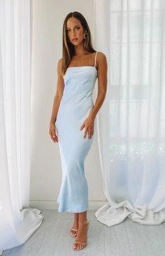 Baby Blue Prom Dresses, Next Dresses, Glam Dresses, Baby Dress, Satin Midi Dress, Blue Midi Dress, White Mini Dress, Buy Dresses Online, Boutique Dresses