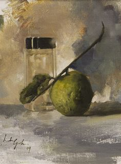 Leslie Goh, Guava and Glass Bottle, 2009 still life, Oil on canvas