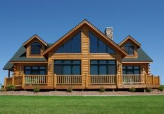 single story Chalet | 3,200 square foot, chalet 2 Story hybrid log modular home built using ...