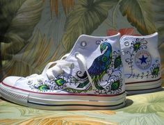Wedding Shoes  Hand Painted Converse  Peacock design by Marleed, $135.00