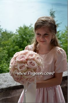 Flower girl dress in champagne pink, peony pink and blush pink silk