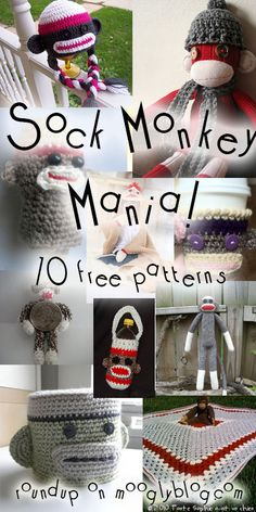 Crochet Sock Monkeys have taken over! Get all the best sock monkey patterns...Yay, I love sock monkeys!