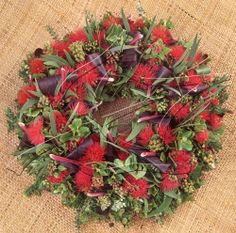 Native Hawaiian Christmas Wreath. Made from native and Polynesian introduced flowers and foliage.