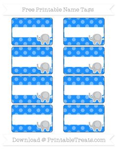 Free Dodger Blue Dotted Pattern Elephant Name Tags