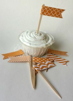 Orange Paper Cupcake Topper Flags - 12 Pieces by Picket Fence Confections on Gourmly