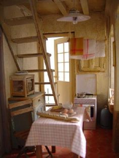 Kitchen with stairs miniature.