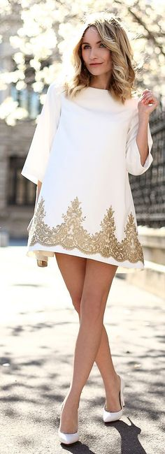 Gold Embroidery Shift Inspiration Dress I want a plunging neckline. and more fitted.