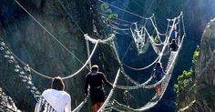 Sospeso nel vuoto a 468 metri sulle Gorge di San Gervasio tra i comuni di Cesana Torinese e Claviere. (per info http://www.pontetibetan...