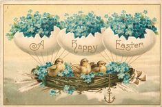 A HAPPY EASTER chicks in nest airship supported by egg balloons, forget-me-nots - TuckDB