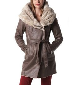 Manteau fourré femme taupe - Promod