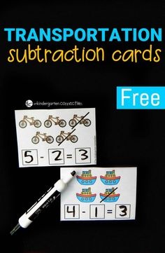 Planes, cars, trucks – things that go are always a popular theme with my kids! Since we are working on subtraction, we tied in a transportation theme to help us along with our learning. These transportation subtraction cards are a fun introduction to building equations for subtraction within 10 and are sure to be a hit with your kids as well!