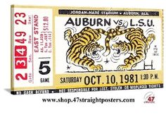 Tiger Football Art! In 1981, Auburn beat LSU 19-7 in this SEC contest. Canvas football art perfect for a game room or office. http://www.shop.47straightposters.com/Alabama-Football-Art-Auburn-Football-Art_c45.htm Auburn football art, vintage football art, college football art, SEC football art, football ticket art, game room art, vintage sports art, canvas football art. #Tigers