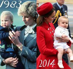 Prince William and Princess Diana, 1983. Catherine, Duchess of Cambridge, aka Kate Middleton, and Prince George, 2014