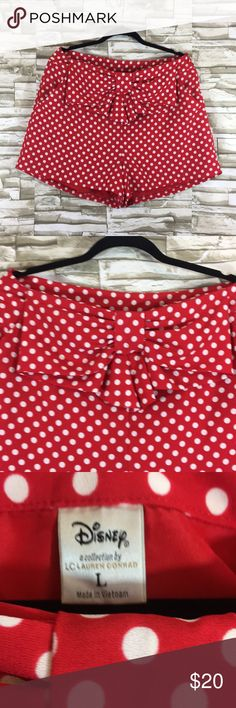 Lauren Conrad red polka dot Disney shorts large Minnie Mouse inspired shorts red and white polka dot with adorable bow detail in the front excellent used condition LC Lauren Conrad Shorts