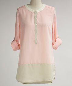 Look at this #zulilyfind! Pink & Beige Button-Front Top #zulilyfinds