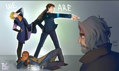 Detroit become human Connor, Kara, Markus and Hank By: voilettrinity.deviantart.com