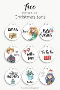 Round Christmas tags | free Christmas printable | #christmas #giftwrapping #freeprintables #tags #winter
