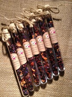 Wedding favours, Boho wedding, Test Tube Favours, Tea Favors, Herbal Teas