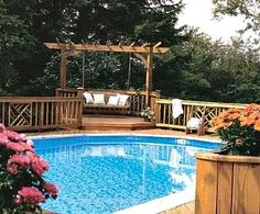 Above+Ground+Pool+Landscape+Designs | The planters in this above ground pool landscaping picture look built ...